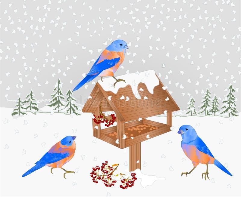 冬天有雪的风景与饲养者圣诞节题材自然本底葡萄酒的森林和蓝鸫导航例证editabl 向量例证