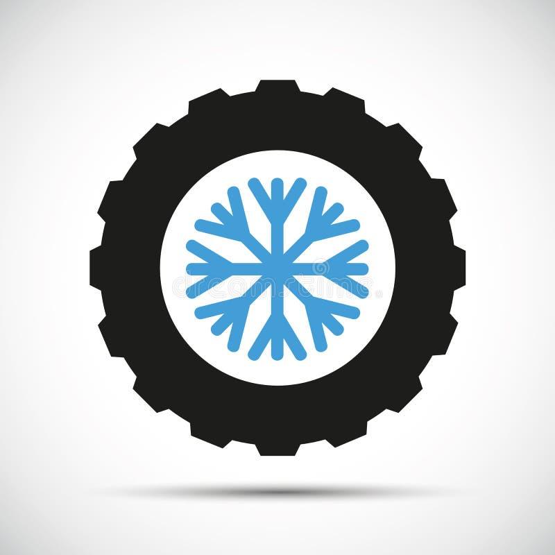 冬天有雪花象的车胎 库存例证