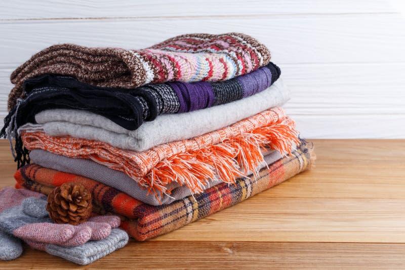 冬天有scarft手套的时装 库存图片