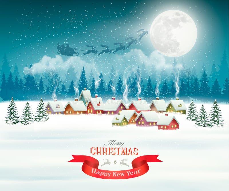 冬天村庄夜圣诞节背景 库存例证