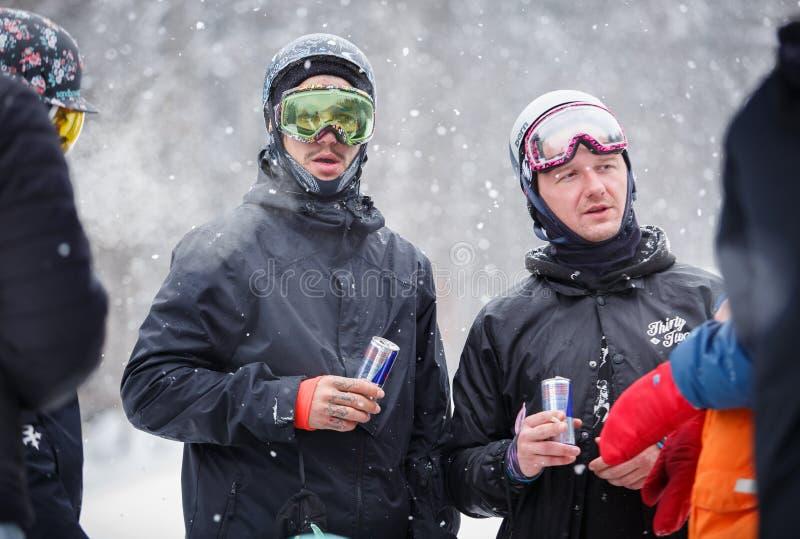 冬天极限运动节日在山雪公园 库存照片