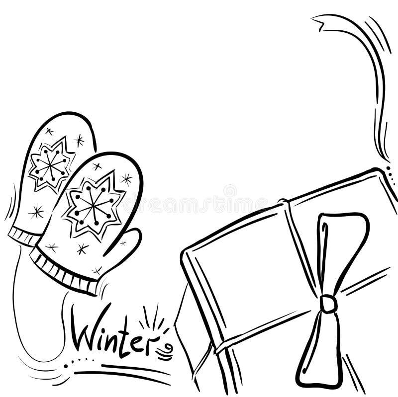冬天构成-与礼物和手套的框架 向量例证