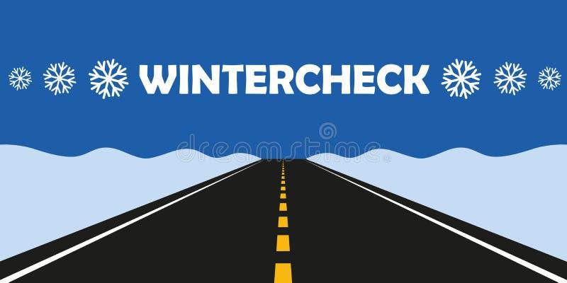 冬天检查车胎更换柏油路 向量例证