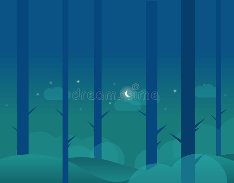 冬天森林和月亮墙纸风景  库存例证