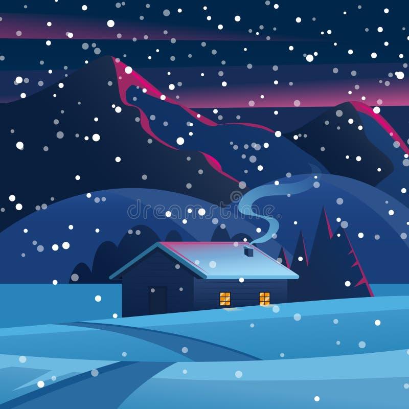 冬天森林夜风景的风景房子与山和一个偏僻的小屋 冬天风景传染媒介 皇族释放例证
