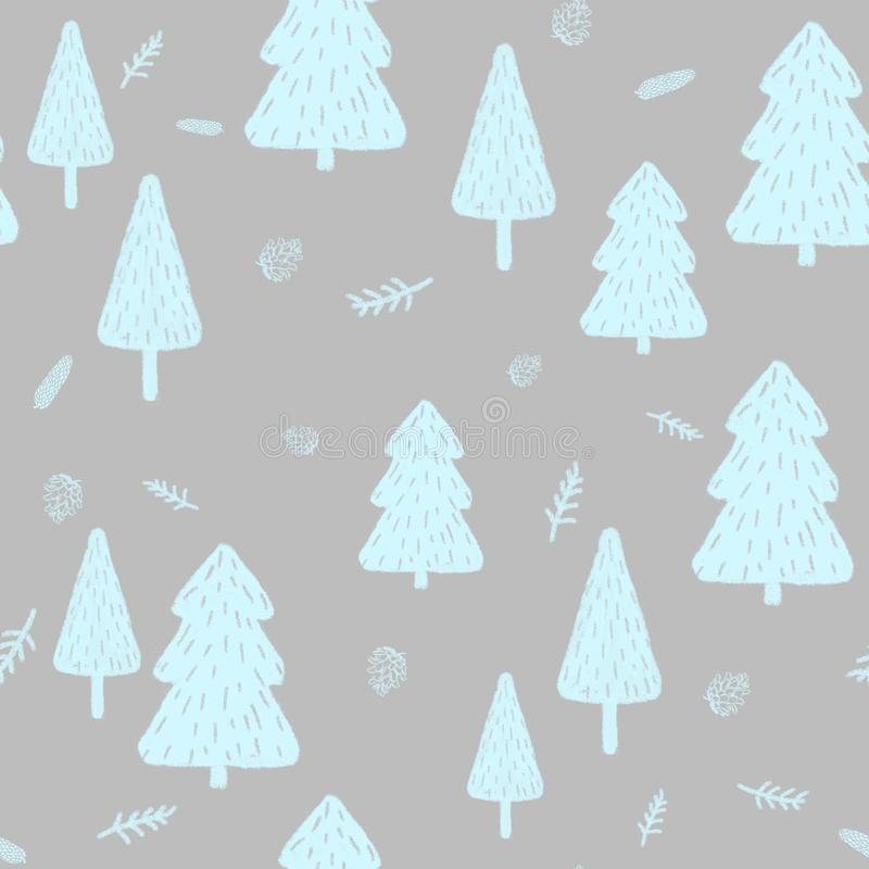 冬天森林无缝的样式,锥体,枝杈 礼物纸的,填装的图画,网页背景,秋天贺卡理想 库存例证