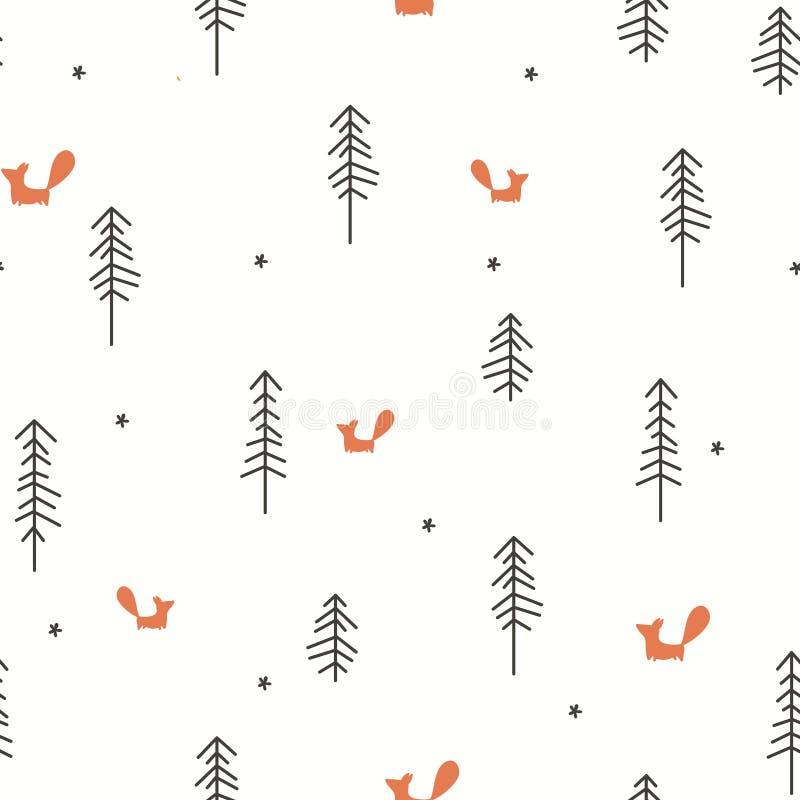 冬天森林无缝的样式 皇族释放例证