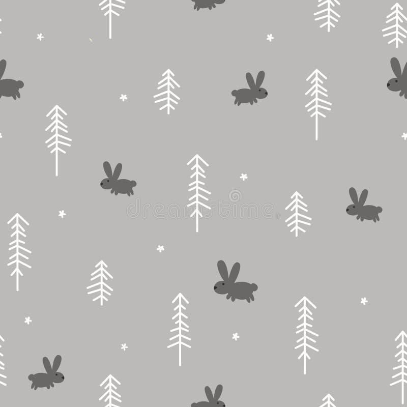 冬天森林用兔子 向量例证