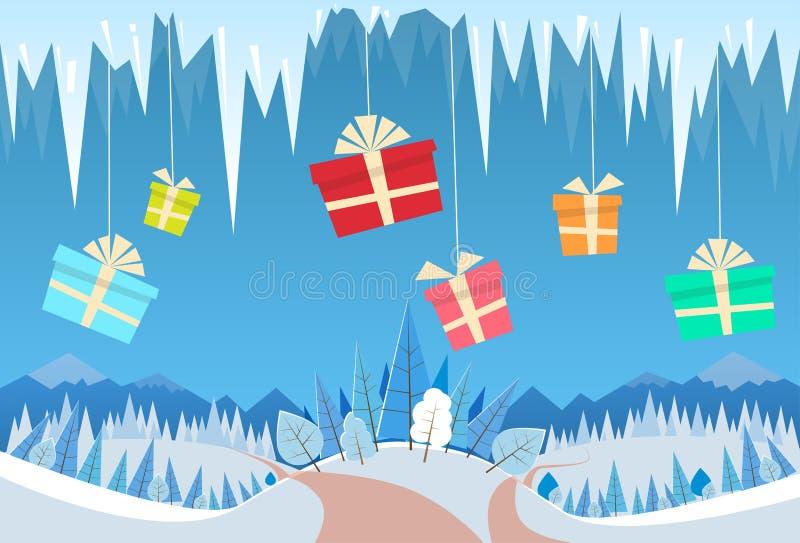 冬天森林风景圣诞节背景礼物 皇族释放例证