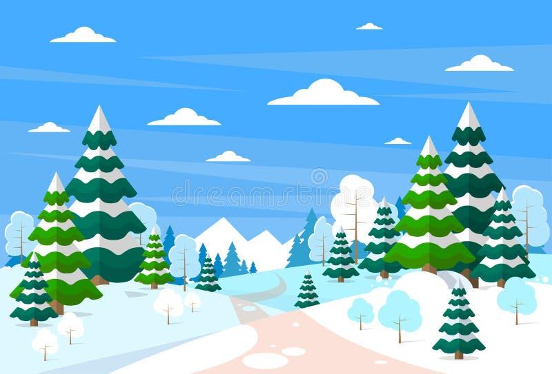 冬天森林风景圣诞节背景,杉木 皇族释放例证