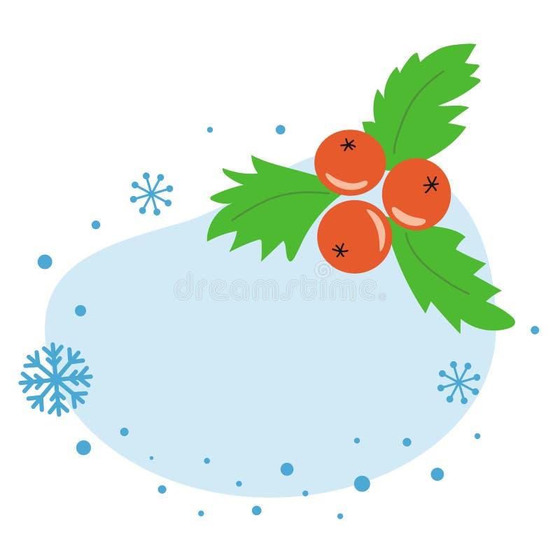 冬天模板圣诞节横幅新年贺卡邀请圣诞节莓果槲寄生 皇族释放例证