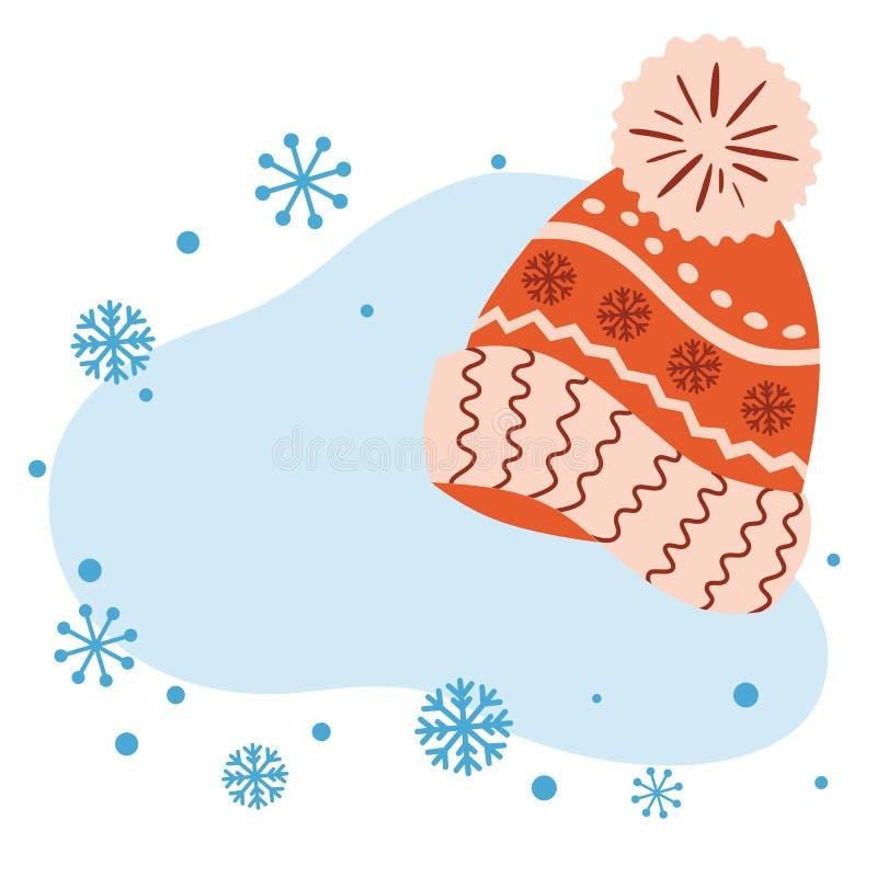 冬天模板圣诞节横幅新年贺卡邀请被编织的盖帽斯诺伊蓝色泡影 库存例证