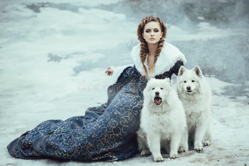 冬天步行的妇女与狗 免版税库存照片