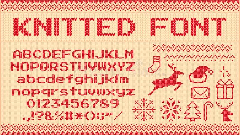 冬天毛线衣字体 被编织的圣诞节毛线衣信件、编织套头衫xmas样式和丑恶的毛线衣编织传染媒介 库存例证