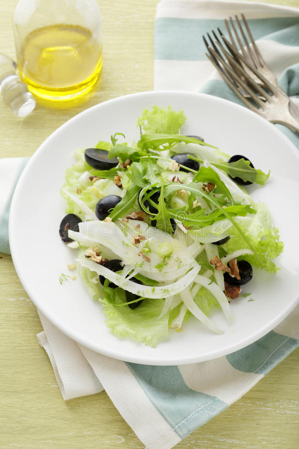 冬天沙拉用葡萄和茴香 免版税库存图片