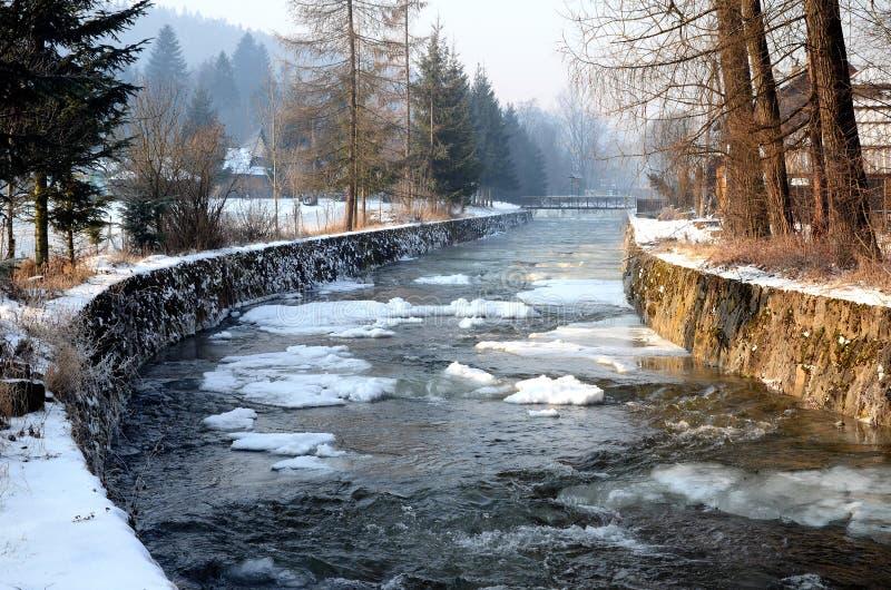 冬天河Krosnica 库存照片