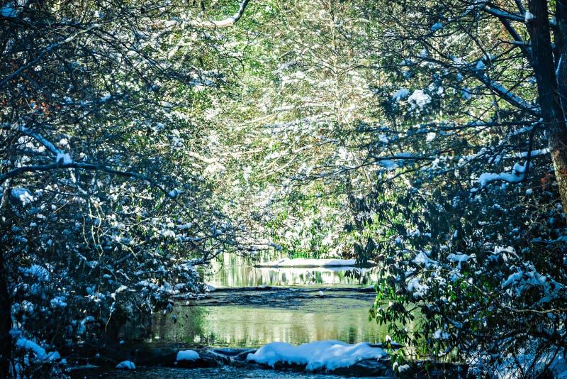 冬天沿山河的妙境风景 免版税库存图片