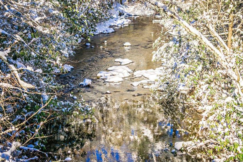 冬天沿山河的妙境风景 图库摄影