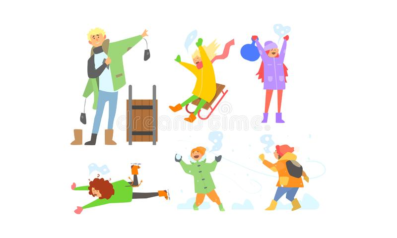 冬天活动集合,儿童sledding,演奏雪球,获得乐趣和享受雪传染媒介例证的孩子 皇族释放例证