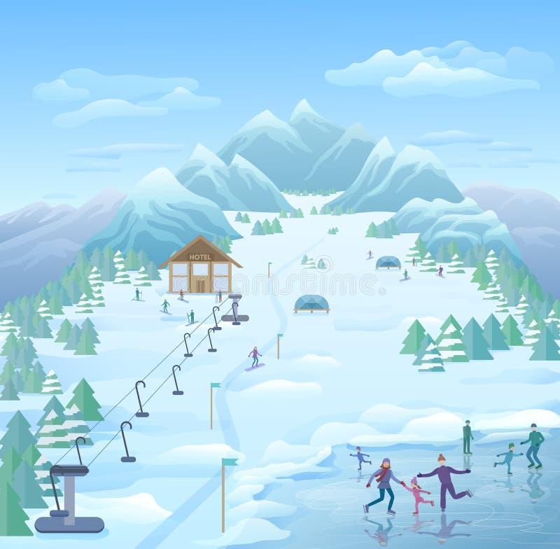 冬天消遣公园模板 免版税库存照片