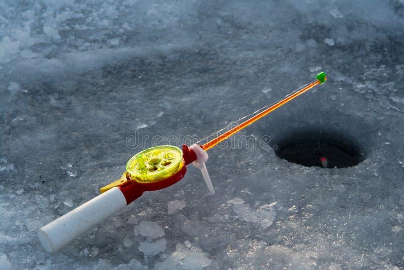 冬天渔的标尺 库存照片