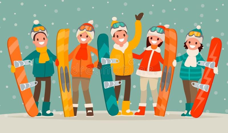 冬天激活休闲 一群人有雪板的和sk 皇族释放例证