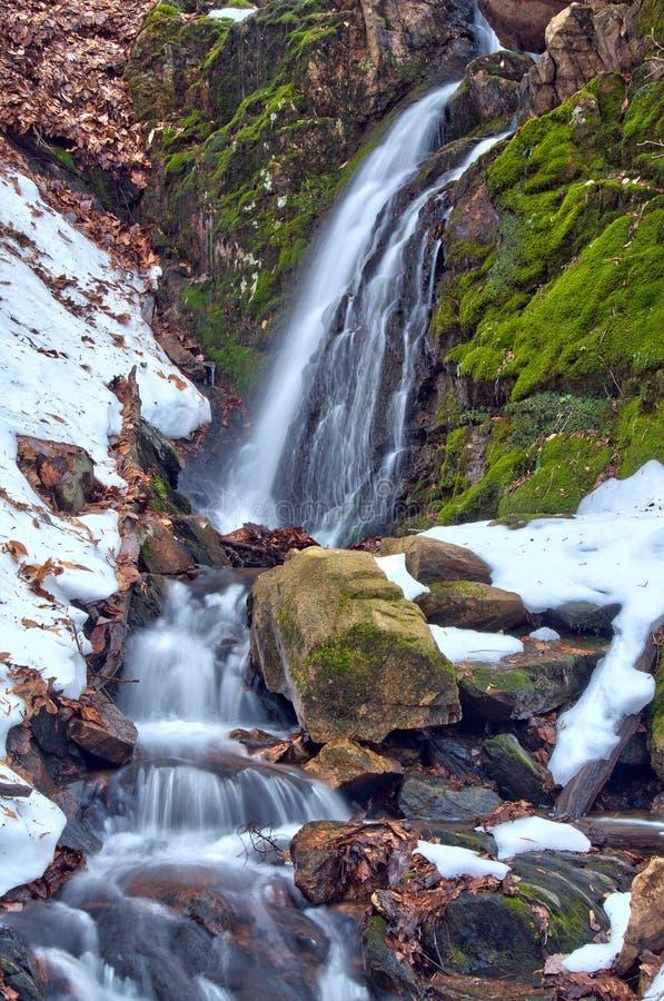 冬天瀑布和熔化的雪 库存照片