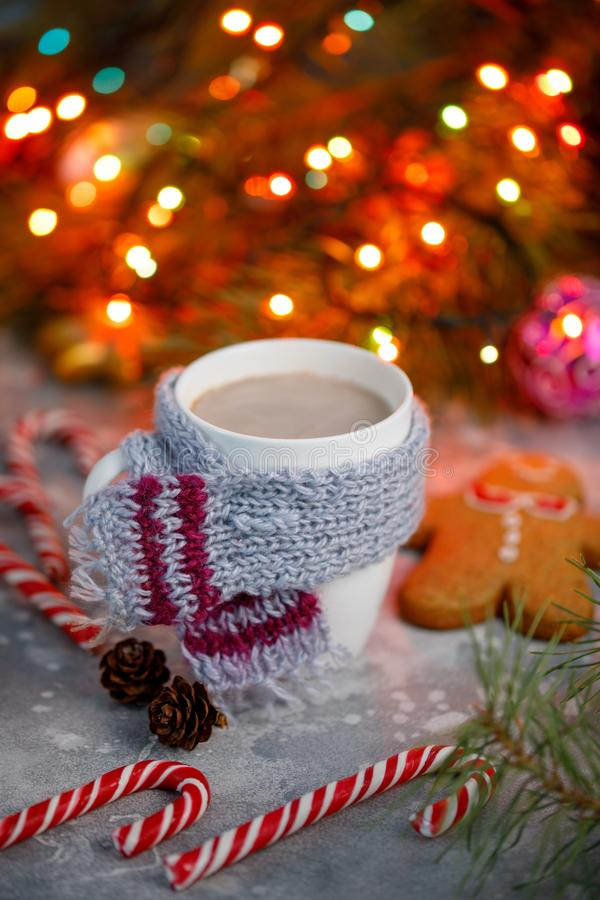 冬天热的饮料圣诞节背景 假日可可粉杯子家在桌上的姜饼曲奇饼 Xmas饮料概念 新年可可粉 图库摄影