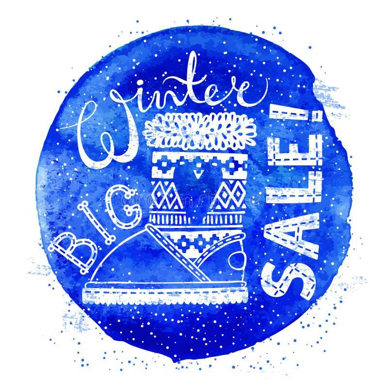 冬天特别横幅或标签与起动在水彩背景 企业季节性购物概念大销售 库存例证