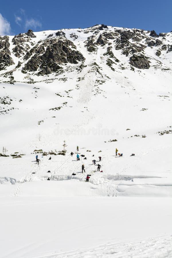 冬天登山路线 一个小组实习生训练拉出冰川的一个裂隙 库存图片