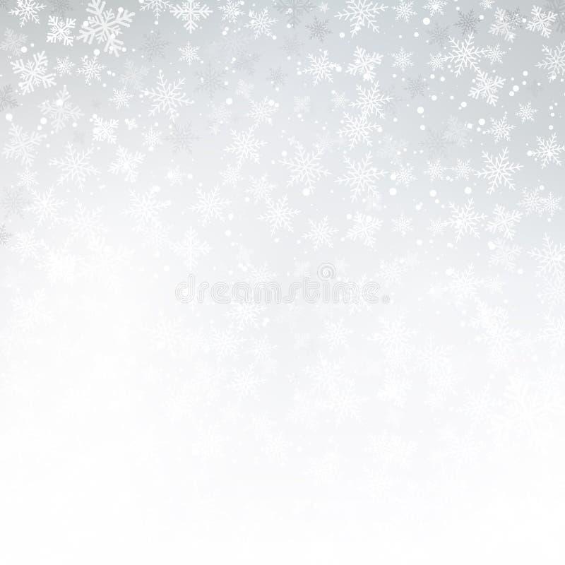 冬天白色背景圣诞节由雪花和雪wi做成 库存例证