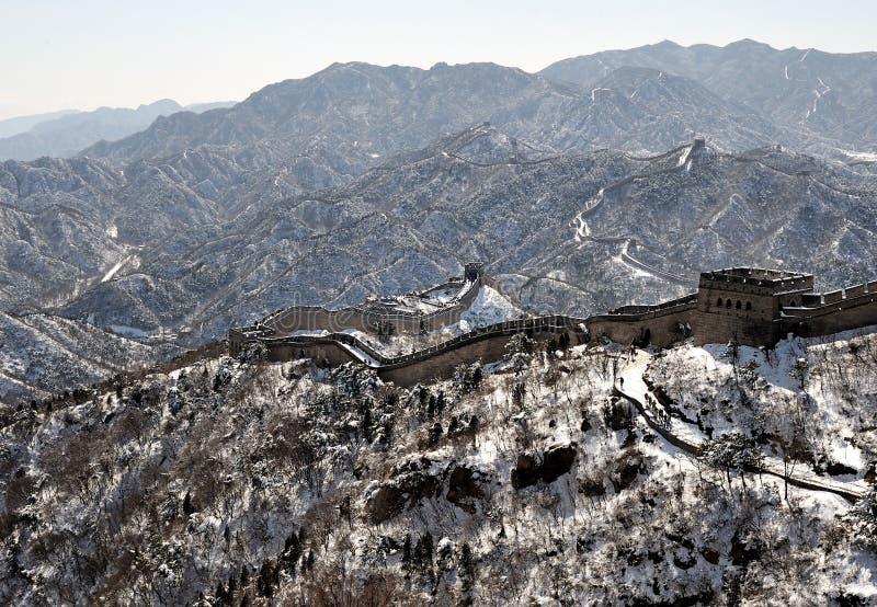 冬天白色雪的长城 免版税库存照片