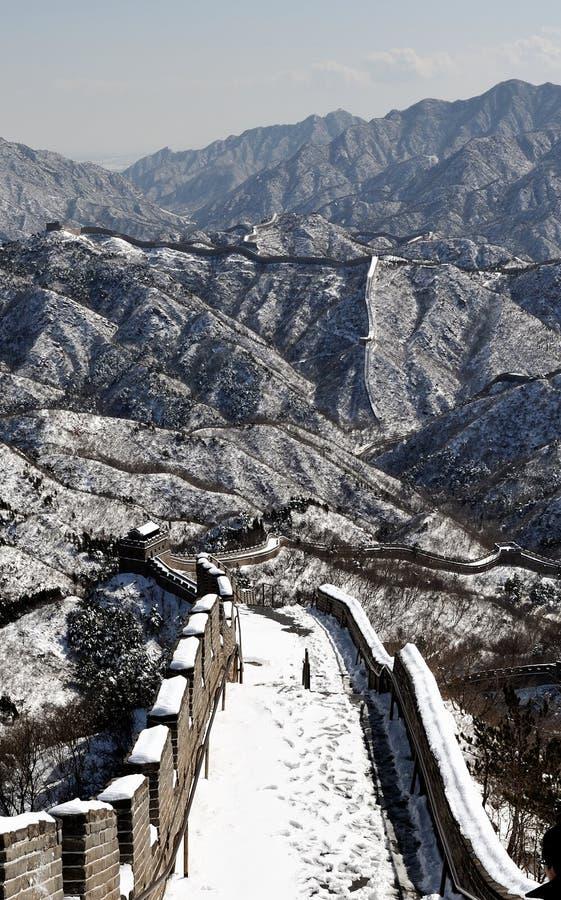 冬天白色雪的长城 免版税图库摄影