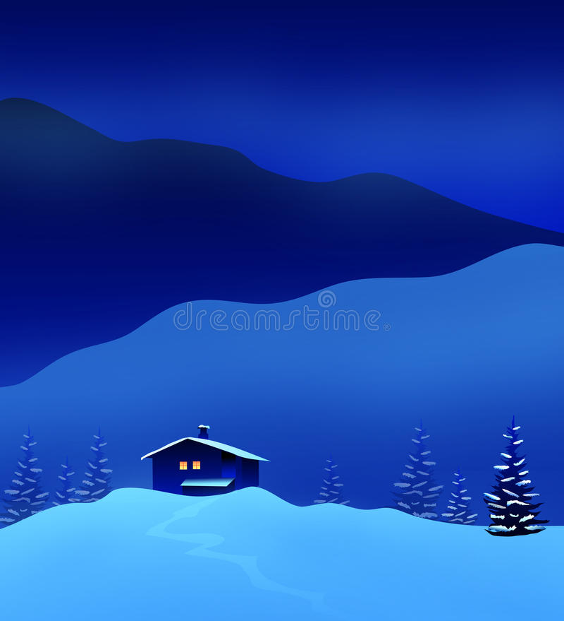 冬天相当夜风景-传染媒介 向量例证
