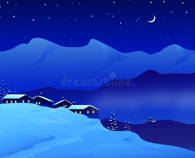 冬天相当夜风景- 皇族释放例证