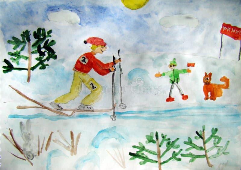 冬天种族-孩子做的水彩绘画 向量例证