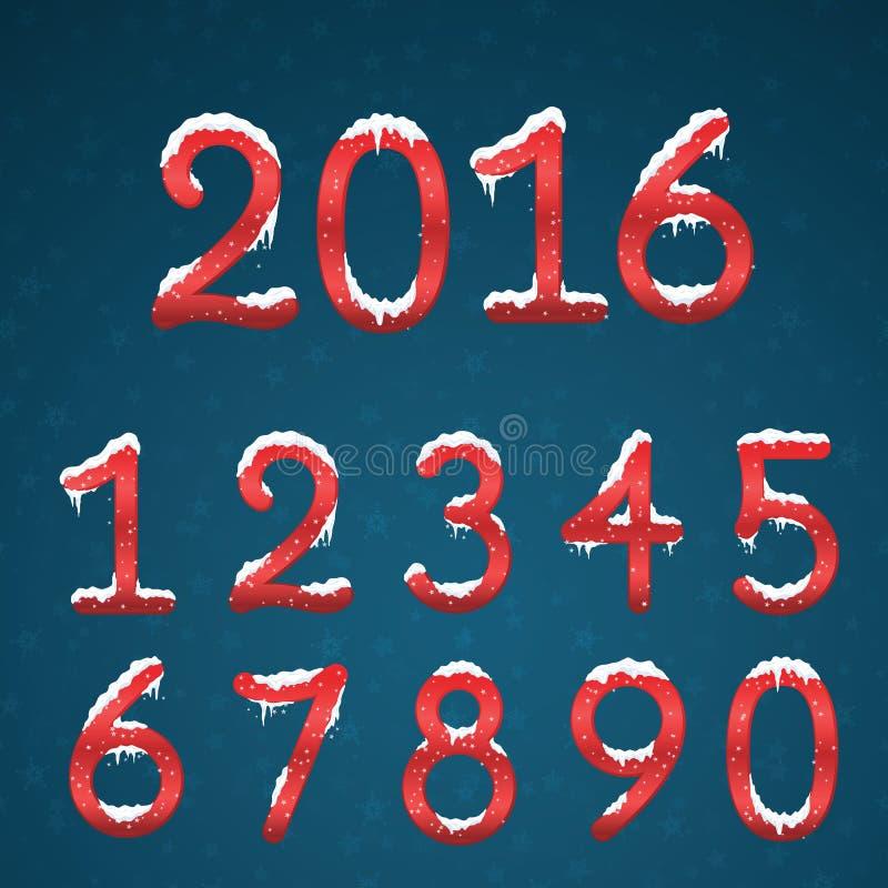 冬天红色数字设置与雪盖帽 冻新年数字wi 皇族释放例证