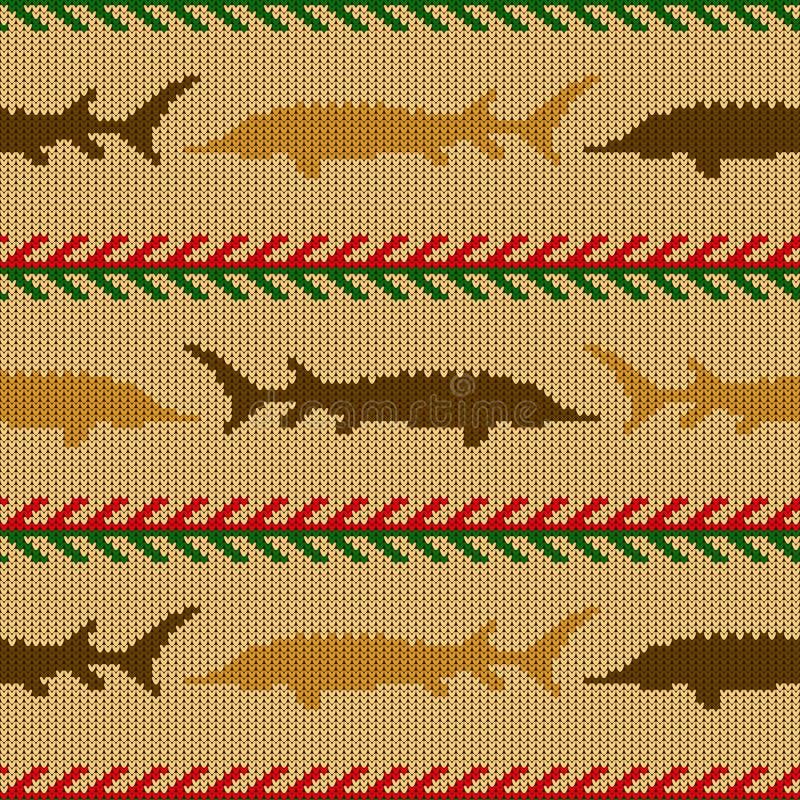 冬天编织了羊毛无缝的样式用在葡萄酒灰棕色口气的鲟鱼 皇族释放例证