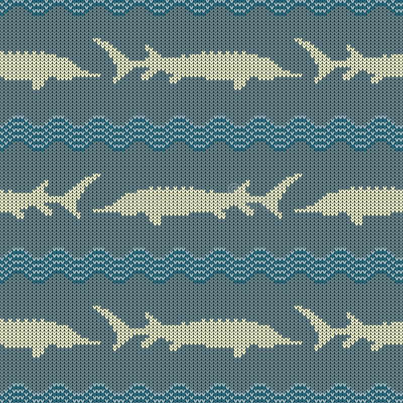冬天编织了羊毛无缝的样式用在葡萄酒蓝色口气的鲟鱼 库存例证