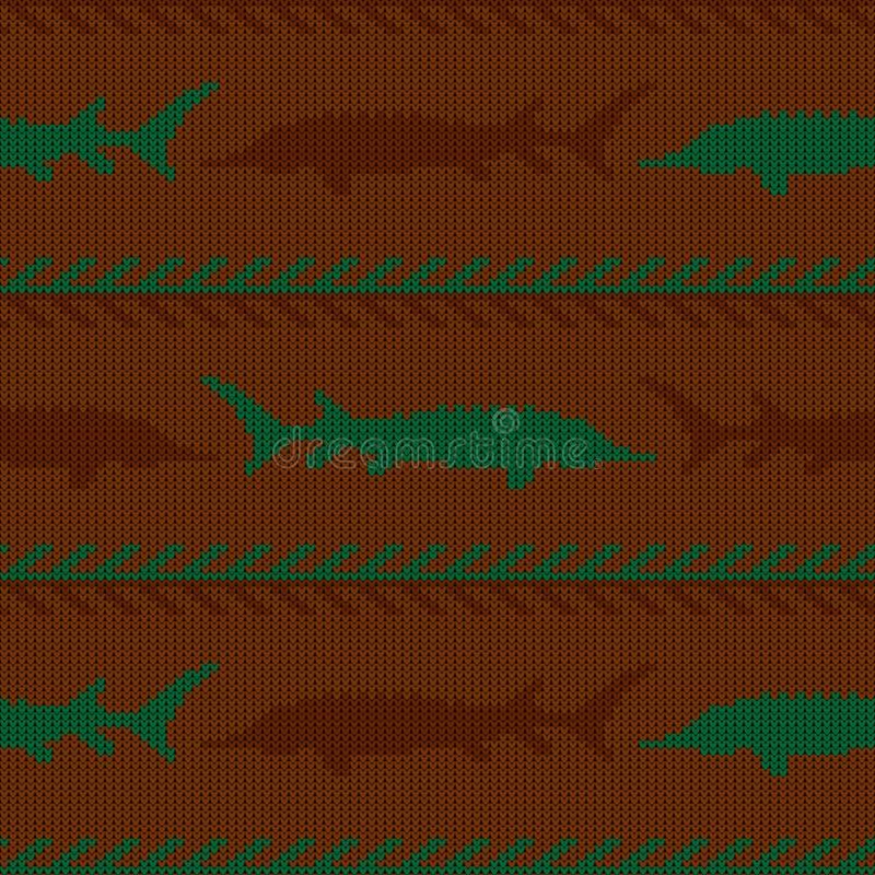 冬天编织了羊毛无缝的样式用在葡萄酒褐色口气的鲟鱼 向量例证