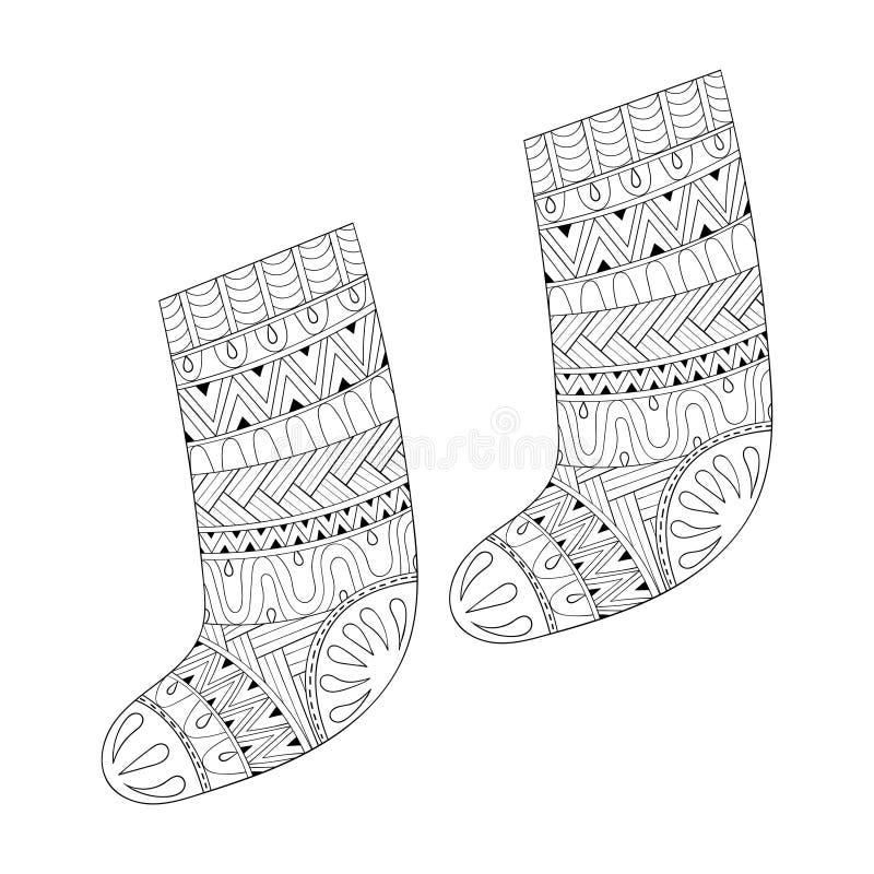 冬天编织了礼物的种族袜子从在zentangle猪圈的圣诞老人 库存例证