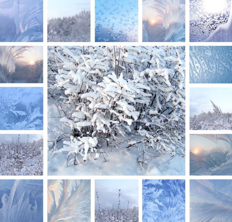 冬天背景,拼贴画 图库摄影