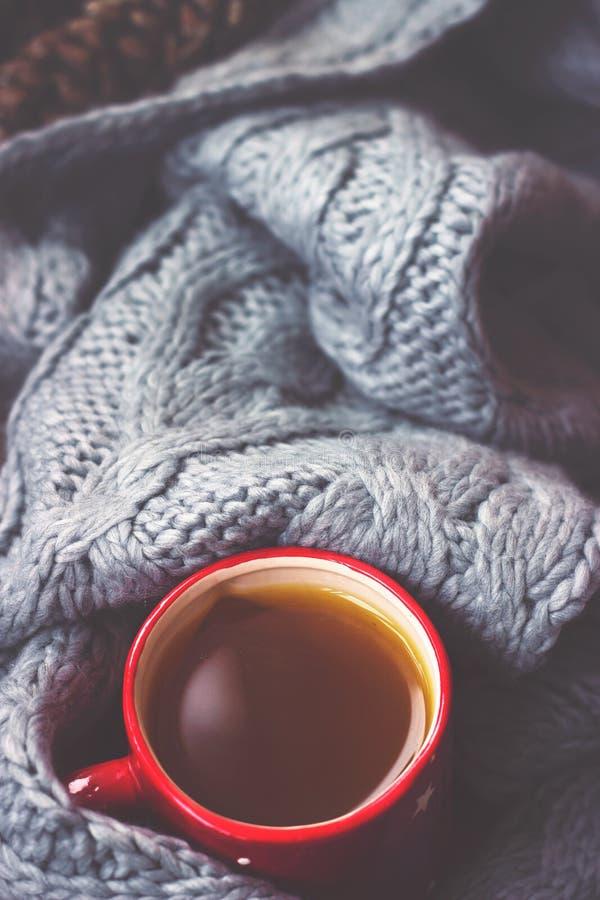 冬天背景-在红色杯子和灰色羊毛围巾的热的茶 库存图片