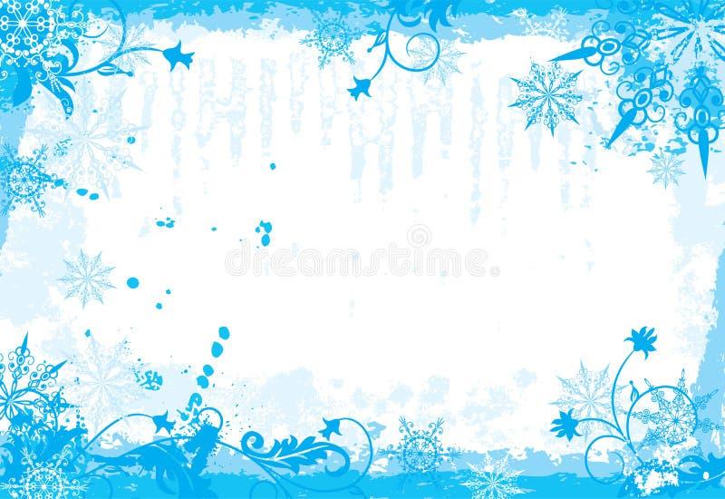 冬天花卉框架,向量 库存例证