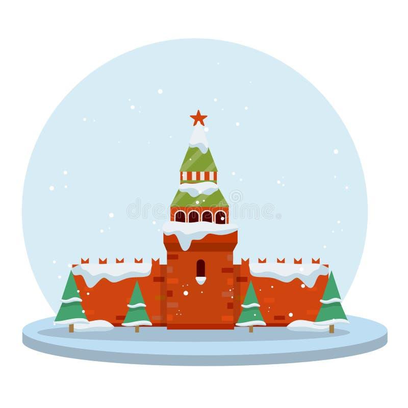 冬天莫斯科 动画片平的例证 库存例证