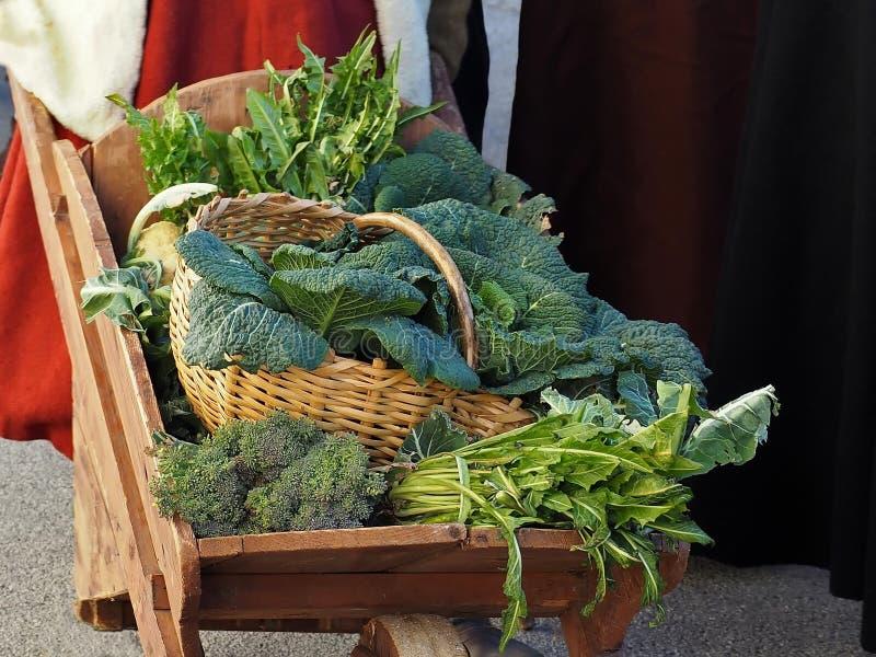 冬天菜混合用苦苣生茯、圆白菜、硬花甘蓝和菠菜在一个柳条筐 免版税图库摄影