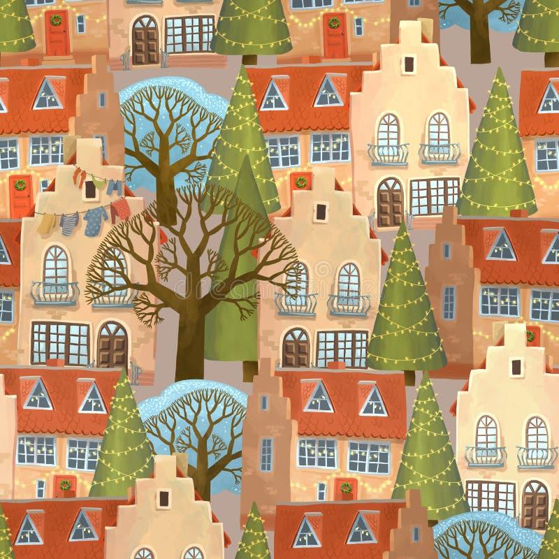 冬天街道在度假装饰 关于小冬天镇的无缝的样式 库存例证