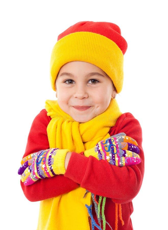 冬天衣裳的微笑的女孩 库存照片