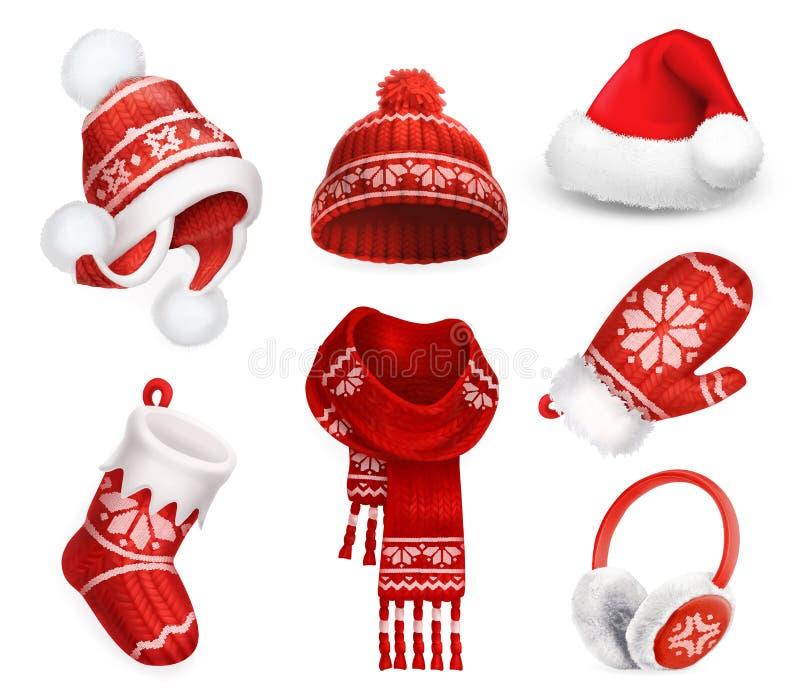 冬天衣裳 圣诞老人绒线帽 被编织的帽子 圣诞节礼品例证红色袜子向量白色 围巾 手套 御寒耳罩 适应图标 向量例证