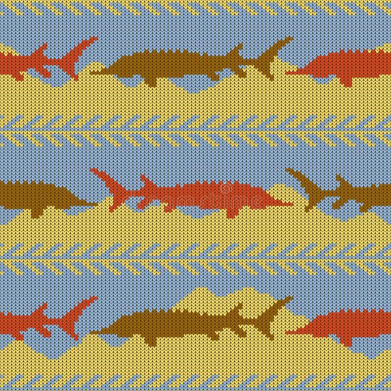 冬天被编织的羊毛无缝的样式用鲟鱼 黄沙和大海 向量例证